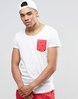 Ringspun Scoop Neck Beach T-shirt With Pocket Co-ord