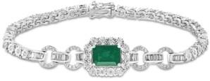 Effy Emerald (1-3/8 ct. t.w.) & Diamond (3/4 ct. t.w.) Link Bracelet in 14k White Gold