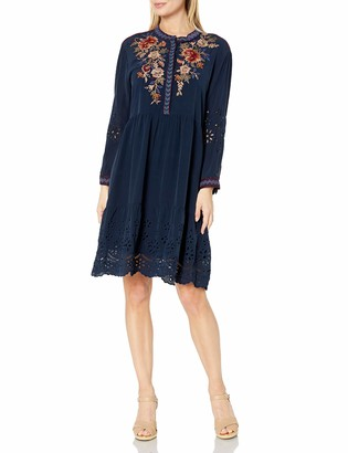 3J Workshop by Johnny was Women's Silk Shirt Dress with Embroidery and Eyelet Detail