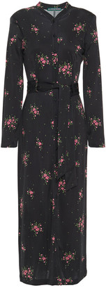 ALEXACHUNG Belted Floral-print Stretch-ponte Midi Dress