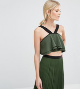 True Decadence Petite Strappy Fluted Crop Top
