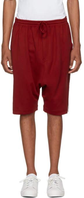 Y-3 Red Logo 3-Stripes Shorts