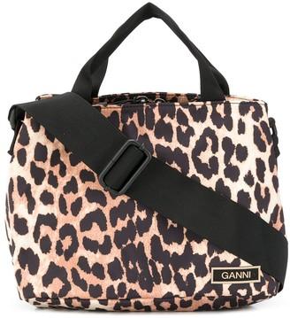 Ganni Leopard Print Tote Bag