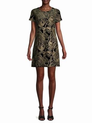 Calvin Klein Metallic Embroidery Paisley Dress