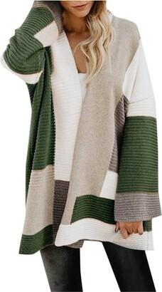 MOTOCO Women's Open Front Cardigan Lightweight Long Sleeve Loose Knitted Sweater Cardigan Jumper Outerwear(XL