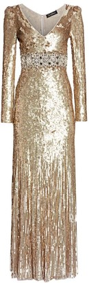 Jenny Packham Deep V-Neck Long-Sleeve Sequin Gown