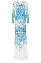 Andrew Gn Floral Embroidered Long Sleeve Gown
