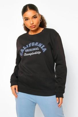 boohoo Plus California Varsity Slogan Sweatshirt