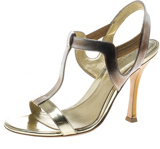 Sergio Rossi Gold Leather T Strap Sandals Size 37