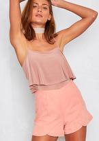 Missy Empire Seraphina Pink Scallop Hem High Waisted Shorts
