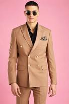 boohoo Mens Beige Skinny Fit Double Breasted Suit Jacket, Beige