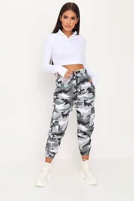 I SAW IT FIRST Grey Camo Cuffed Hem Trousers
