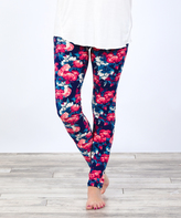 Navy Bold Floral Leggings
