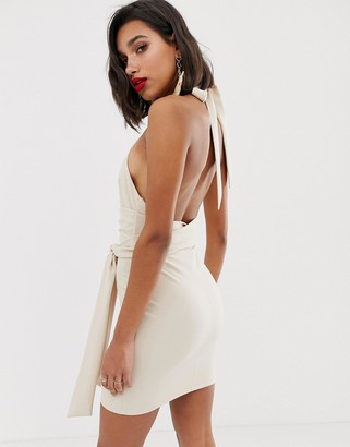 Asos Design DESIGN multiway halter mini dress with bamboo and tie detail-Cream