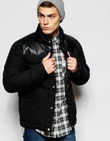 Penfield Shower Proof Pelham Down Fill Jacket With Leather Yoke - Black