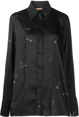 Ssheena Long Cat-Print Shirt
