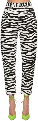 ATTICO Zebra High Waist Printed Denim Jeans