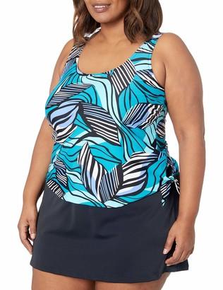 Maxine Of Hollywood Women's Scoop Neck Faux Tankini Swim Dress One Piece Swimsuit