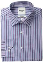 Ben Sherman Men's Red and Blue Slub Bar Striped Oxford Shirt