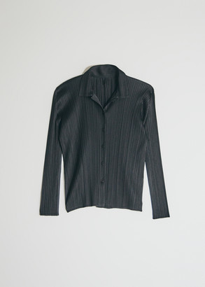 Pleats Please Issey Miyake Women's Long Sleeve Basics Button Up Top in Black, Size 4
