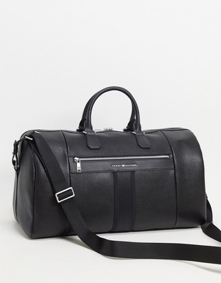 Tommy Hilfiger faux leather duffle bag in black with logo