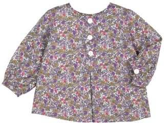 Petit Bateau 64795120 Girls' Long-Sleeved Blouse Milk/Thistle/Multi-Coloured - Beige - 3 Months