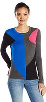 Vince Camuto Women's Long Sleeve Colorblocked Crewneck Sweater