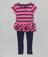 U.S. Polo Assn. Classic Navy & Pink Tunic & Leggings - Girls
