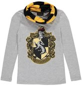 """Harry Potter Big Girls' """"Hufflepuff"""" L/S Top with Scarf"""