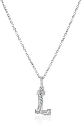 "Amazon Collection Platinum Plated Sterling Silver ""L"" Initial Pendant Necklace set with Swarovski Zirconia (.2 cttw)"