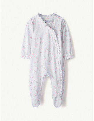 The Little White Company Posy floral frill cotton sleepsuit 0-24 months