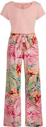 New York & Co. Pink Tropical-Print Pajama Set