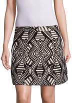 Alice + Olivia Women's Loran Structured Geometric-Print Skirt - Black-beige, Size 12