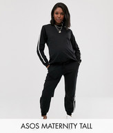 Asos DESIGN Maternity Tall tracksuit sweat / basic under the bump jogger with tie with contrast binding