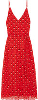 Christopher Kane Pleated Printed Silk-chiffon Dress - Red