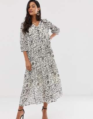 Ichi lace print floaty maxi dress-White