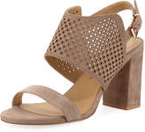 Neiman Marcus Brae Perforated Suede Sandal, Brown