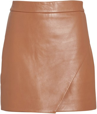 Mason by Michelle Mason Leather Wrap Mini Skirt