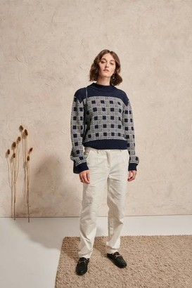 Le Mont Saint Michel - Msm Graphic Check Sweater Navy Off White - S