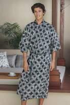 Men's Batik Cotton Robe, 'Midnight Fireworks'