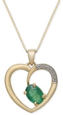 "Macy's Emerald (3/4 ct. t.w.) & Diamond Accent Heart 18"" Pendant Necklace in 14k Gold"