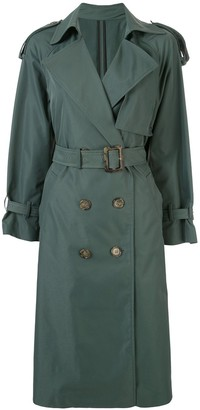 Le Ciel Bleu Double-Breasted Belted Trench Coat