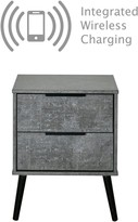 Swift Berlin Ready Assembled 2 Drawer Bedside Chest with Integrated Wireless Charging