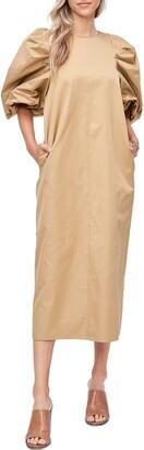 En Saison Balloon Sleeve Cotton Blend Poplin Midi Dress