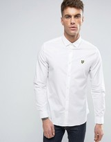 Lyle & Scott Stretch Slim Fit Shirt Buttondown Eagle Logo in White