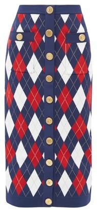 Balmain Argyle-jacquard Knitted Midi Skirt - Navy Multi