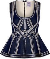Herve Leger Stretch-jacquard peplum top