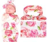 Newborn Baby Swaddle Blanket,Sywwlov Floral Cotton Receiving Blankets Sleeping Bag and Headband Set
