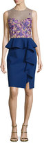 Notte by Marchesa Sleeveless Embroidered Peplum Dress, Navy
