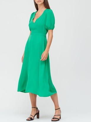 Very V-Neck Tie Back Midi Dress - Green